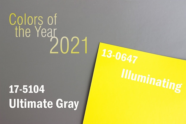 2021년 올해의 색상입니다. 회색 노란색 배경, 고유성 개념. 아이디어, 혁신