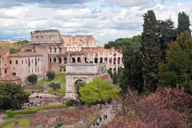 Colosseum from roman forum rome
