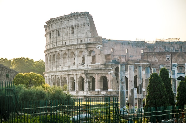 Colosseum in rome, italy during sunrise. rome architecture and landmark.