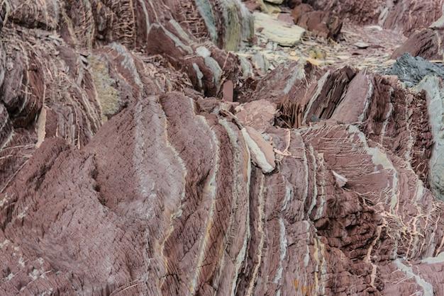 東グリーンランドのにぎやかな岩をクローズアップ。
