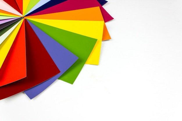 Colour guide on light background, samples for colour definition. top view.