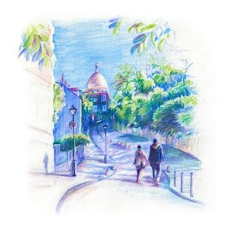 Цветной карандашный рисунок пары влюбленных на монмартре в париже, франция
