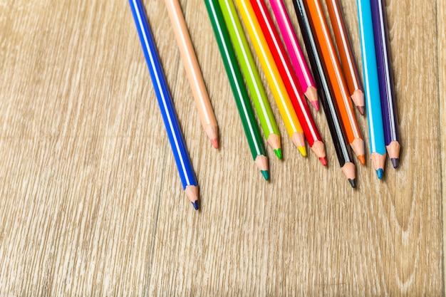 Colour pencils on wooden