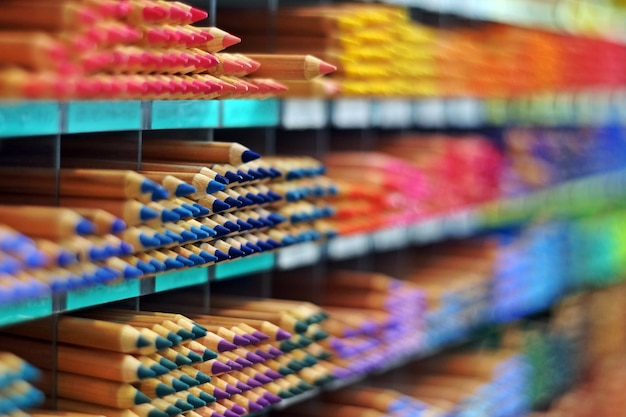 Coloured pencil on the shelf at stationary store