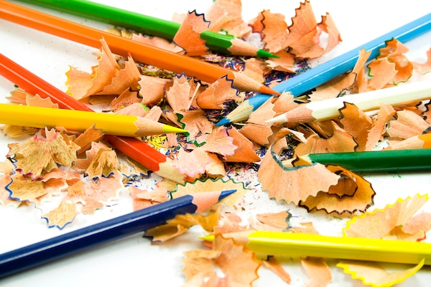 Coloured pencils and sawdust close-up