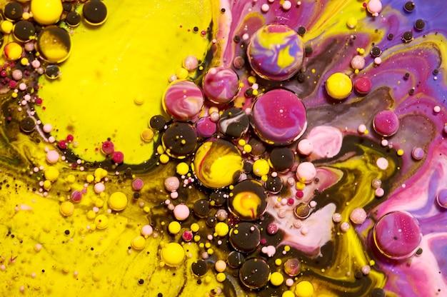 カラフルなアクリルの泡。抽象的なインクデザインテンプレート混合テクスチャ背景。液体色の背景。壁紙パターン。オイルポスター。デザインテンプレート。流体アート