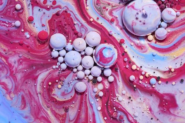 Красочные акриловые пузыри. абстрактный шаблон дизайна чернил смешанные текстуры фона. жидкий цветной фон. образец обоев. масло плакат. шаблон оформления. жидкое искусство