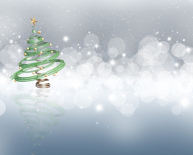 Colourful background with stars and bokeh lights effect and a 3d christmas tree