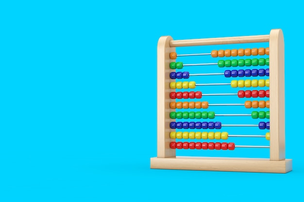 파란색 배경에 다채로운 어린이 장난감 두뇌 개발 주판. 3d 렌더링