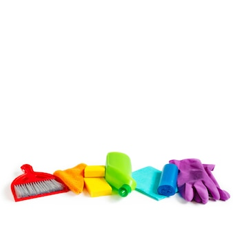 Colourful cleaning set for different surfaces in kitchen, bathroom and other rooms.