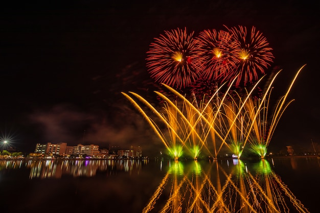 Colourful fireworks in the night of celebration.