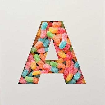 다채로운 글꼴 디자인, 젤리가있는 추상 알파벳 글꼴, 사실적인 타이포그래피-a