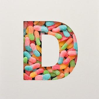 다채로운 글꼴 디자인, 젤리가있는 추상 알파벳 글꼴, 사실적인 타이포그래피-d