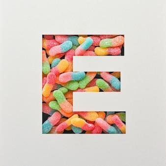 다채로운 글꼴 디자인, 젤리가있는 추상 알파벳 글꼴, 사실적인 타이포그래피-e