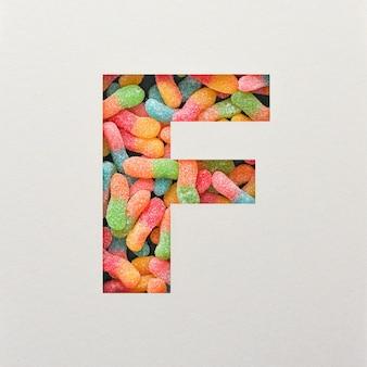 다채로운 글꼴 디자인, 젤리가있는 추상 알파벳 글꼴, 사실적인 타이포그래피-f