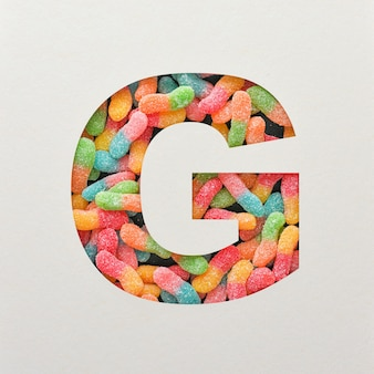 다채로운 글꼴 디자인, 젤리가있는 추상 알파벳 글꼴, 사실적인 타이포그래피-g
