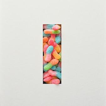 다채로운 글꼴 디자인, 젤리가있는 추상 알파벳 글꼴, 사실적인 타이포그래피-i