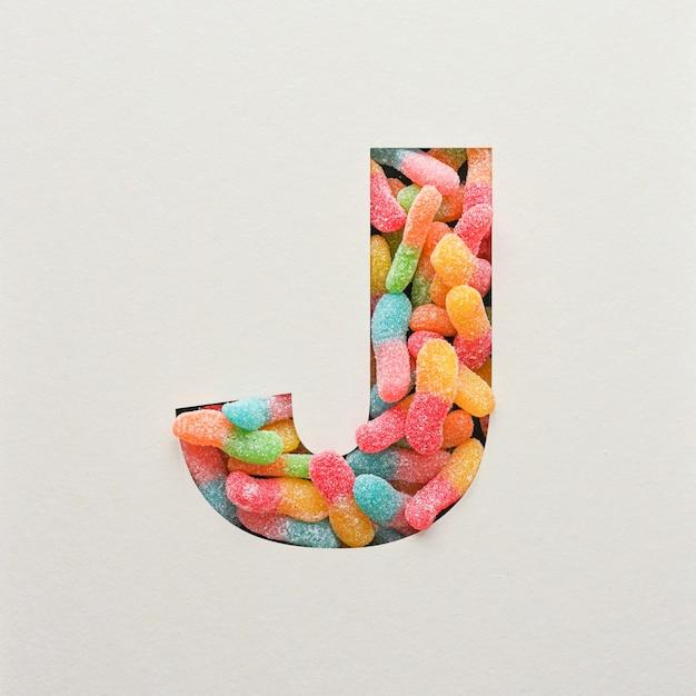 다채로운 글꼴 디자인, 젤리가있는 추상 알파벳 글꼴, 사실적인 타이포그래피-j
