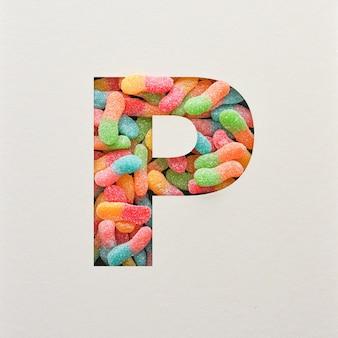 다채로운 글꼴 디자인, 젤리가있는 추상 알파벳 글꼴, 사실적인 타이포그래피-p
