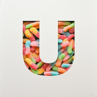 다채로운 글꼴 디자인, 젤리가있는 추상 알파벳 글꼴, 사실적인 타이포그래피-u