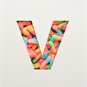 다채로운 글꼴 디자인, 젤리가있는 추상 알파벳 글꼴, 사실적인 타이포그래피-v