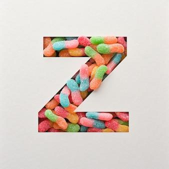 다채로운 글꼴 디자인, 젤리가있는 추상 알파벳 글꼴, 사실적인 타이포그래피-z