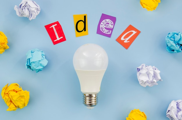 Colourful idea word lettering and real light bulb