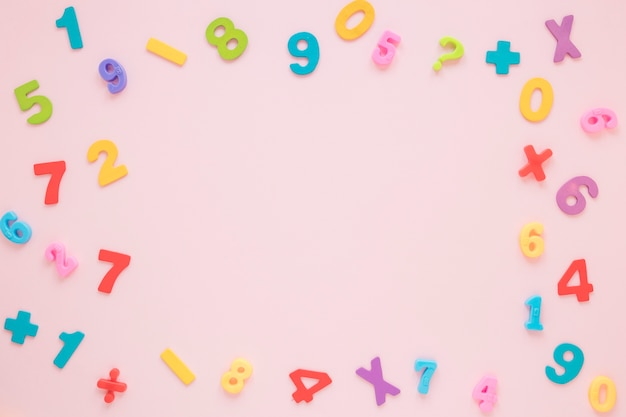 Colourful math numbers and letters frame with copy space top view