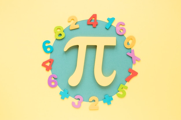 Colourful math numbers surrounding pi symbol