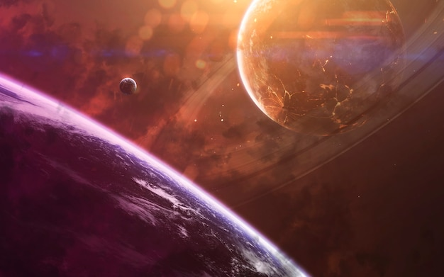 Красочная туманность в глубоком космосе, красивые галактики, планеты и звезды. элементы этого изображения, предоставленные наса