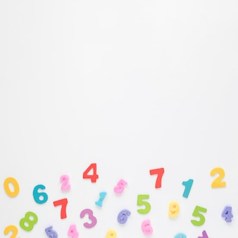 Colourful numbers on white copy space background