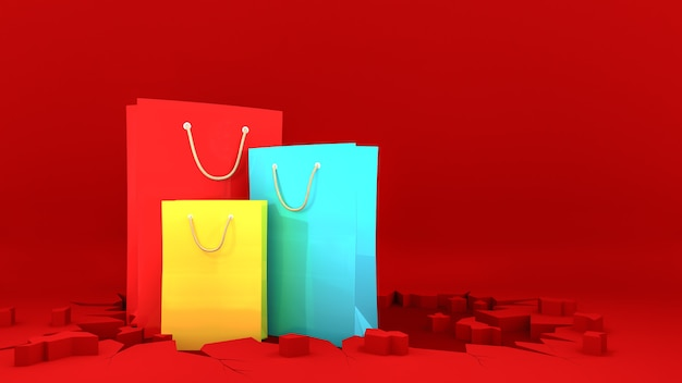 Colourful paper shopping bags on crack red ground. shopping concept, 3d rendering.