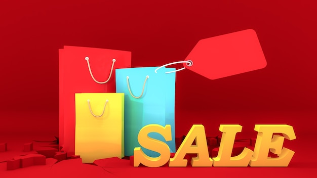 Colourful paper shopping bags and yellow sale sign with price tag on crack red ground.