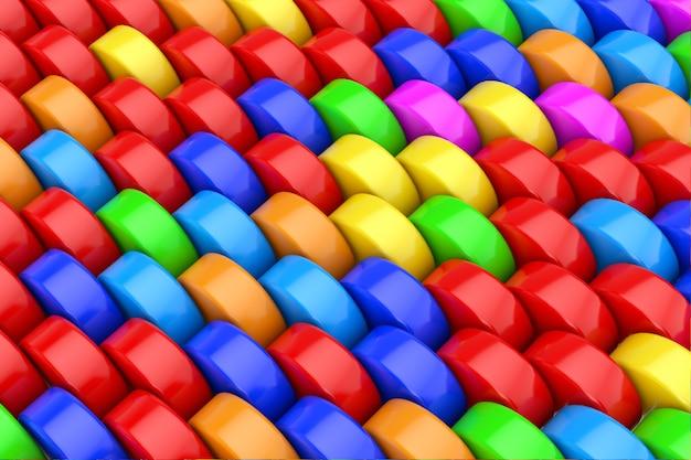 カラフルな虹の抽象的なシリンダー背景テクスチャ極端なクローズアップ。 3dレンダリング