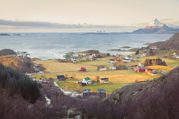 Colourful rustic houses typical of scandinavia in the valley by the sea.