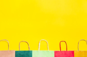 Colourful shopping bags with handles