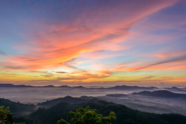 Colourful sky with mountains at hatyai, thailand