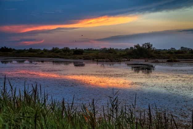 Colourful sunset in camargue provence southern france calm and tranquility