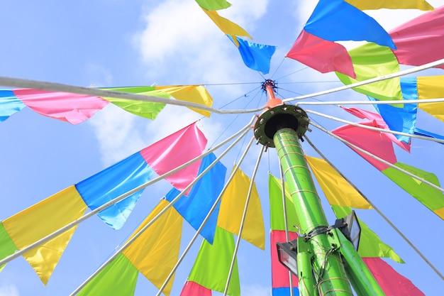 A colourful triangle flag