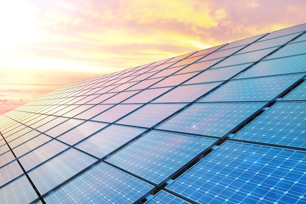Colse up solar panels on sunset.
