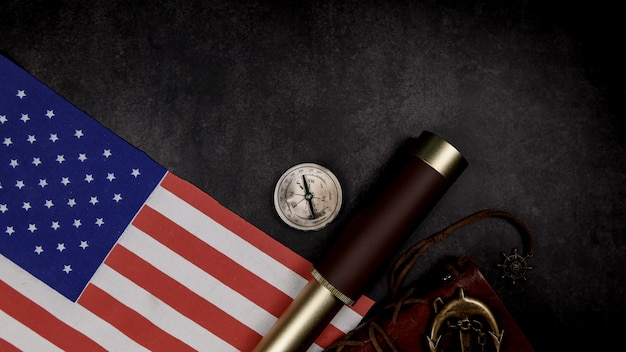Columbus day background. map and discovery of old equipment. exploration and history of america in october.