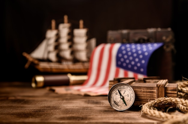 Columbus day. map and discovery of old equipment. exploration and history of america in october.