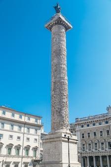Column of marcus aurelius in rome, italy. upright photo