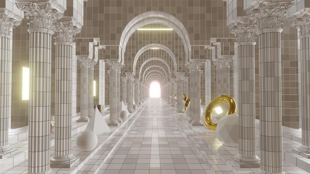 광고 건축 및 건물 장면에 대한 고전 그리스 배경의 열 주문