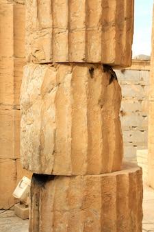 Column in the parthenon on the acropolis in athens