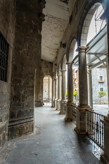 Columns in the basement of the church of santa marãa la real in the town of azkoitia next to the urola river, gipuzkoa. basque country