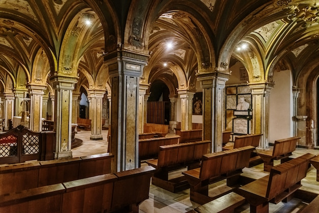Columns of the crypt of the cathedral basilica of san sabino in bari.