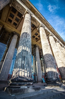 Columns in the facade of old museum in berlin, germany.