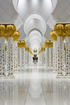 Columns in the sheikh zayed grand mosque, uae