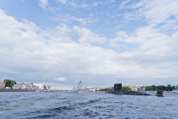 Combat submarine of the russian navy. the celebration of navy day.